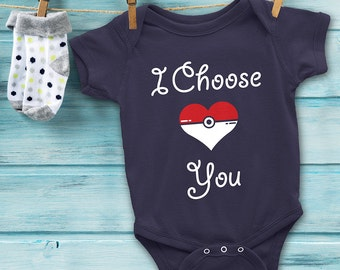 POKEMON Baby Onesie I Choose You Baby Bodysuit // Pokemon Heart Baby Onesie //  Baby Shower Gifts // Pokemon Baby Gift