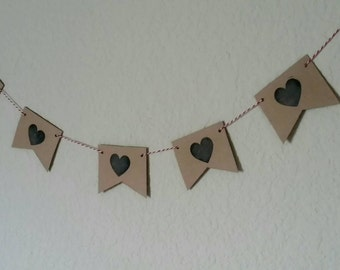 heart stamped pendant banner