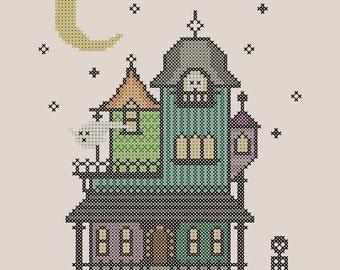 Haunted Mansion Cross Stitch Pattern