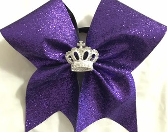 Purple Glitter with Crown Cheer Bow
