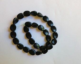 vintage german glass  beads matte black twist