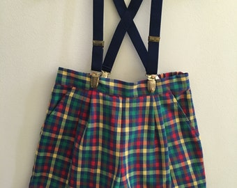 Vintage Kelly's Kids Plaid Shorts with Suspenders Size 5