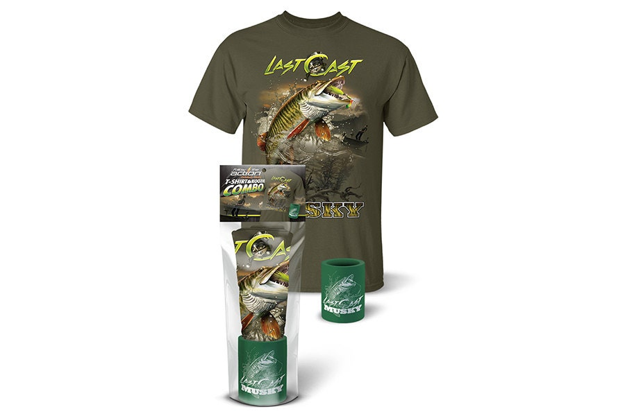 Follow the action last cast musky t shirt and koozie combo for Shirts and apparel koozie