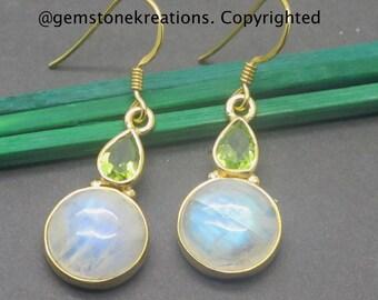 Moonstone, Peridot Earrings,  925 Sterling Silver Ring, Gemstone Earrings, Crystal Earrings
