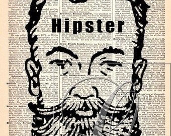 Hipster Print Upcycled Dictionary/Encyclopedia page gifts for him wall artwork custom book pages antique book art bearded man no. 58
