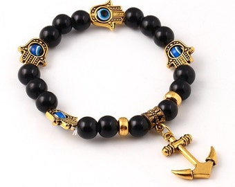 Yoga Black/Gold Good Luck Hamsa Hand Anchor Onyx Stone Bead Bracelet