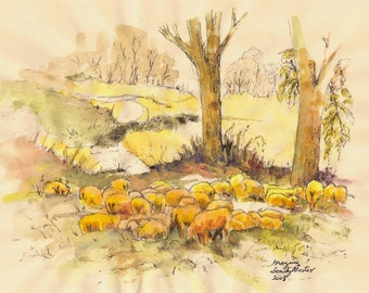 2005 Animals Grazing watercolor print from original by seller, signed