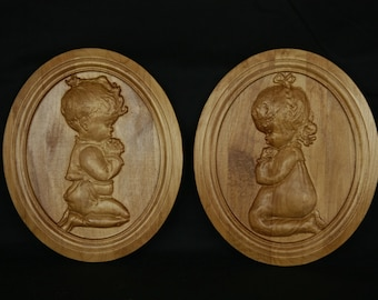 3D Wood Carved Praying Chidren Plaques
