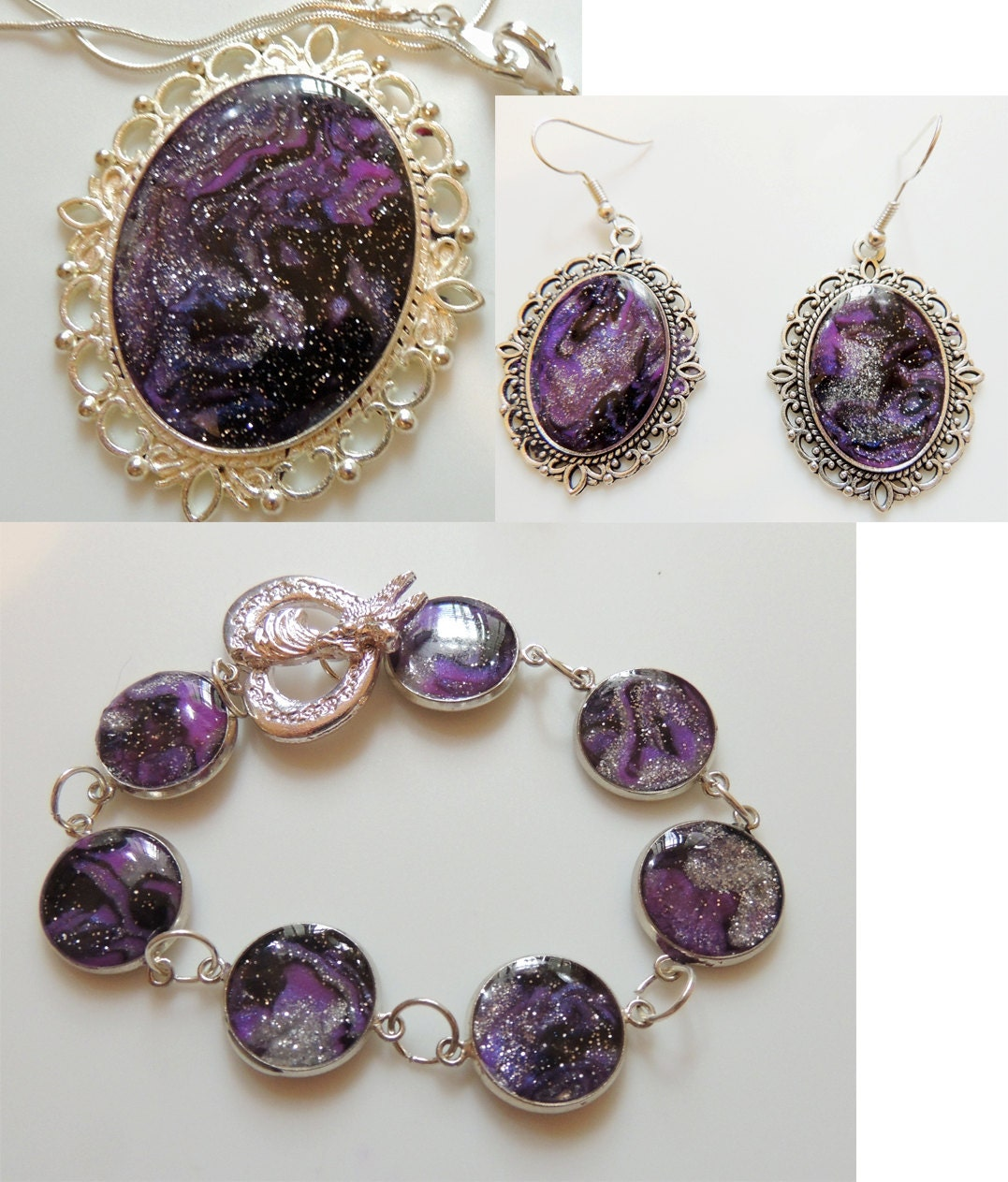 artisan original jewelry set mystical impressions in purple