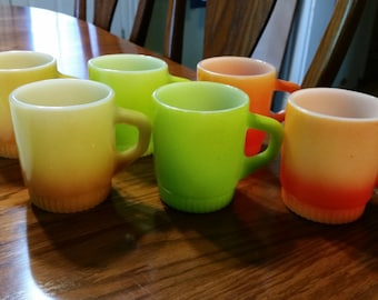 Set of 6 vintage Anchor Hocking Fire King Stackable coffee mugs