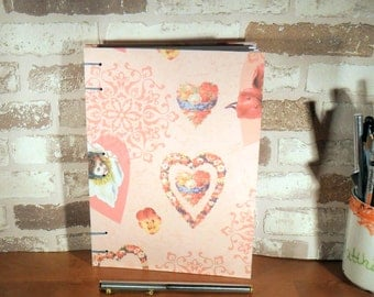 Notebook A5 heart of flowers / / journal / / rosa / / gift / / Valentine's day / / mother's day / / girlfriend