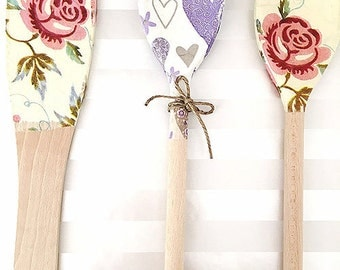 Set of 3 Decoupaged Wooden Spoons
