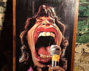 Rare drawing of Mick Jagger on rustic wood