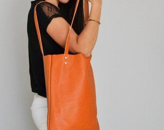 ORANGE TOTE Bag, Pebbled Leather Bag, Leather Laptop Bag, Orange Leather Tote, Everyday Tote Bag Market Bag Women's Leather Purse - MADRID -