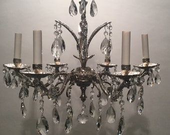 Silver Plated Bronze Chandelier with Crystals and Chain