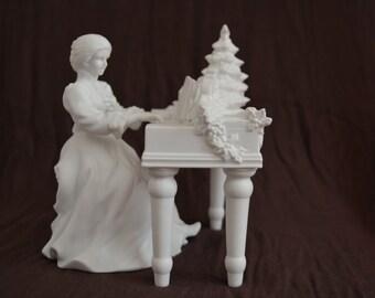 "Vintage Department 56 Winter Silhouette ""Accompanying A Carol"" 2 Piece Porcelain Set"