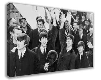 THE BEATLES Black And White Vintage Band Canvas Wall Art