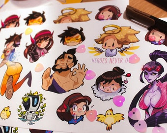 Cute Overwatch vinyl stickers #9 - D.va Tracer Hanzo Widow Mercy bastion