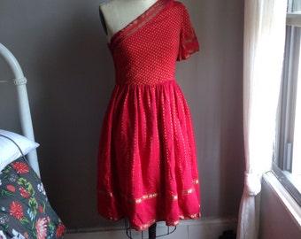 1950s Sari-Inspired Fit & Flare Dress