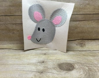 Mouse Embroidery Design, Mouse Design, Grey Mouse Embroidery Design