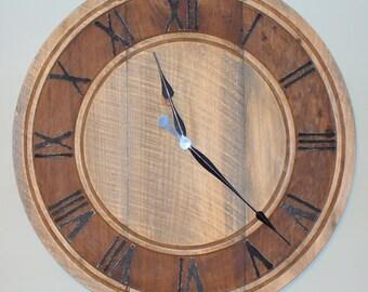 "30"" Rustic Weathered Wood Clock"