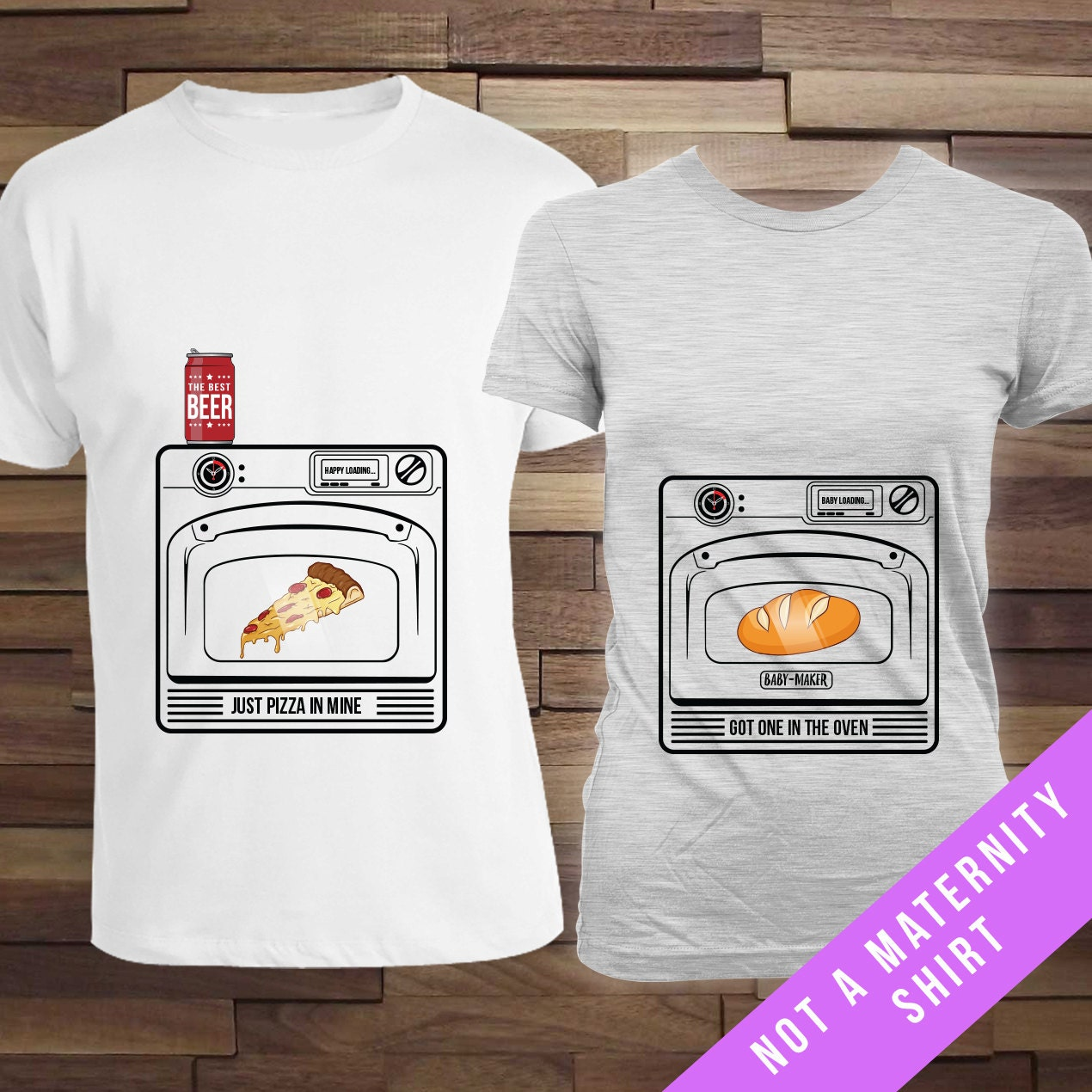 Bun in the Oven Pizza in Mine MomDad Matching Set new momnew – Bun in the Oven Baby Announcement