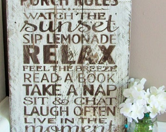Rustic Pallet Wood Sign-Porch Rules