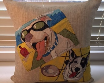 Tan cushion with mixed dogs 45cmx45cm