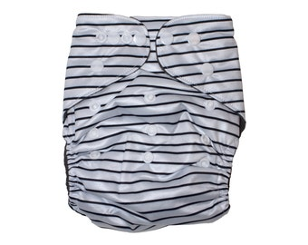 Black & White Stripes - MCN - Modern Cloth Nappy - Cloth Diaper - Bamboo - Eco - Reusable - Baby Essentials - Newborn