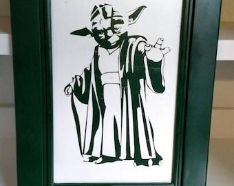 Star wars Yoda wooden picture,star wars pictures,star wars art,Yoda picture,Yoda art