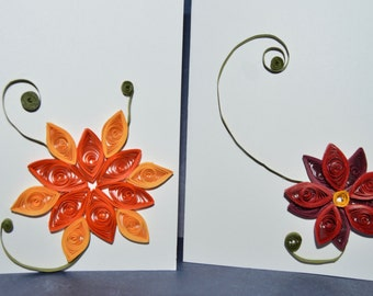 Quilled Greeting Cards, Set of 2, Fall Flowers