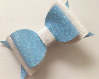 Light blue & white double medium bow