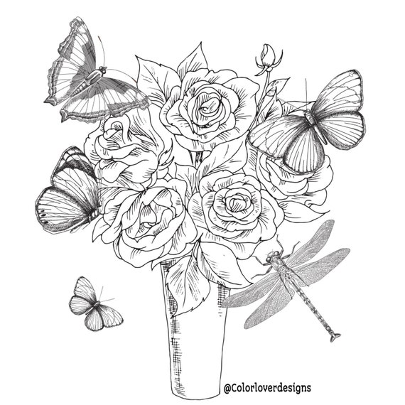 Printable Coloring Page Flowers Stress Relieving Patterns