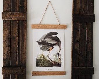 Great Blue Heron print with lathe wood mount