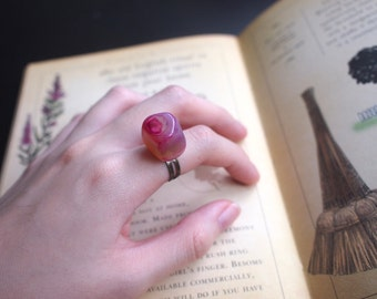Pink Tumbled Stone Adjustable Ring with Copper Base