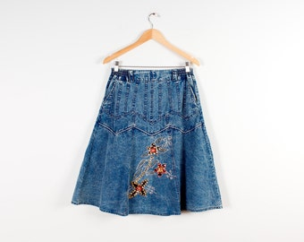 Denim Skirt Acid Wash Bleached Knee Length Skirt Bleached Denim Cowgirl Skirt Country Western Glitter Denim Skirt Hipster 80s Style Vintage