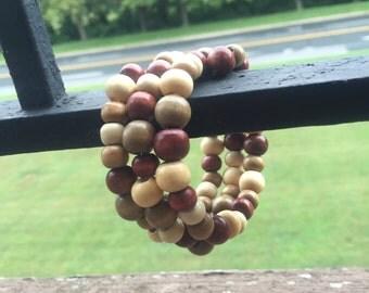 Wooden beaded memory wire wrap around bracelet