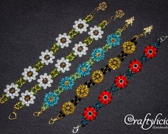 Swarovski Bracelet, Flower Bracelet, Daisy, Poppy, Sunflower, Edelweiss