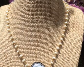 Pearl and 14k rosary chain with Coin Pearl center with crystals surrond