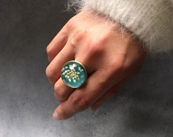 White Queen Anne's Lace against Teal In Antique Bronze Bezel Ring, Resin Ring, Statement Ring, Resin Jewelry