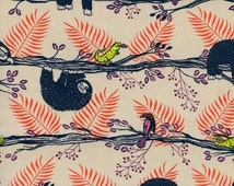 Lazy Day Neutral Red | Sloth Fabric | Cotton + Steel | Cute Sloths | Jungle Print | Baby Animals | Sarah Watts