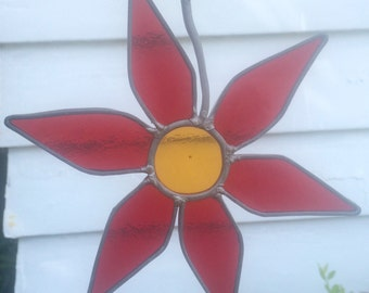 Vintage Floral Stained Glass Suncatcher