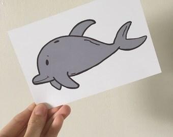 "Dolphin Illustration Print 6x4"" Gloss"