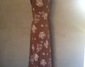 Shabby Chic Floral Vintage Brown Summer Dress