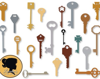 Key design Svg pack - Antique Key SVG file collection -  (zipped .eps .pdf .dxf .svg and .studio file) vector cutting files