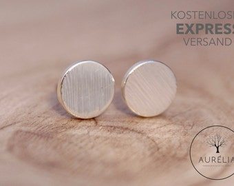 """Silver plated ear studs """"Plate"""""""