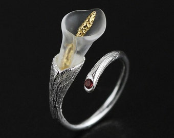 White Gold 925 sterling silver ring Calla flower