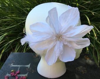 White Headband, baby headband, flower headband, baptism headband, girl headband