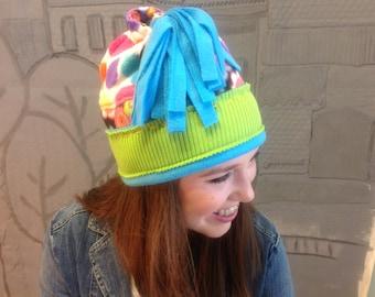 Gift for Her/Trendy Teen Toboggan Style Winter Hat/ Size Medium H31