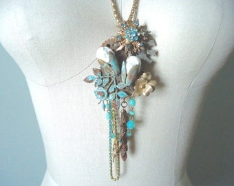 Frozen Charlotte Assemblage Necklace, Turquoise Upcycled Necklace, Boho Bohemian Long Necklace, Unique Pendant Necklace
